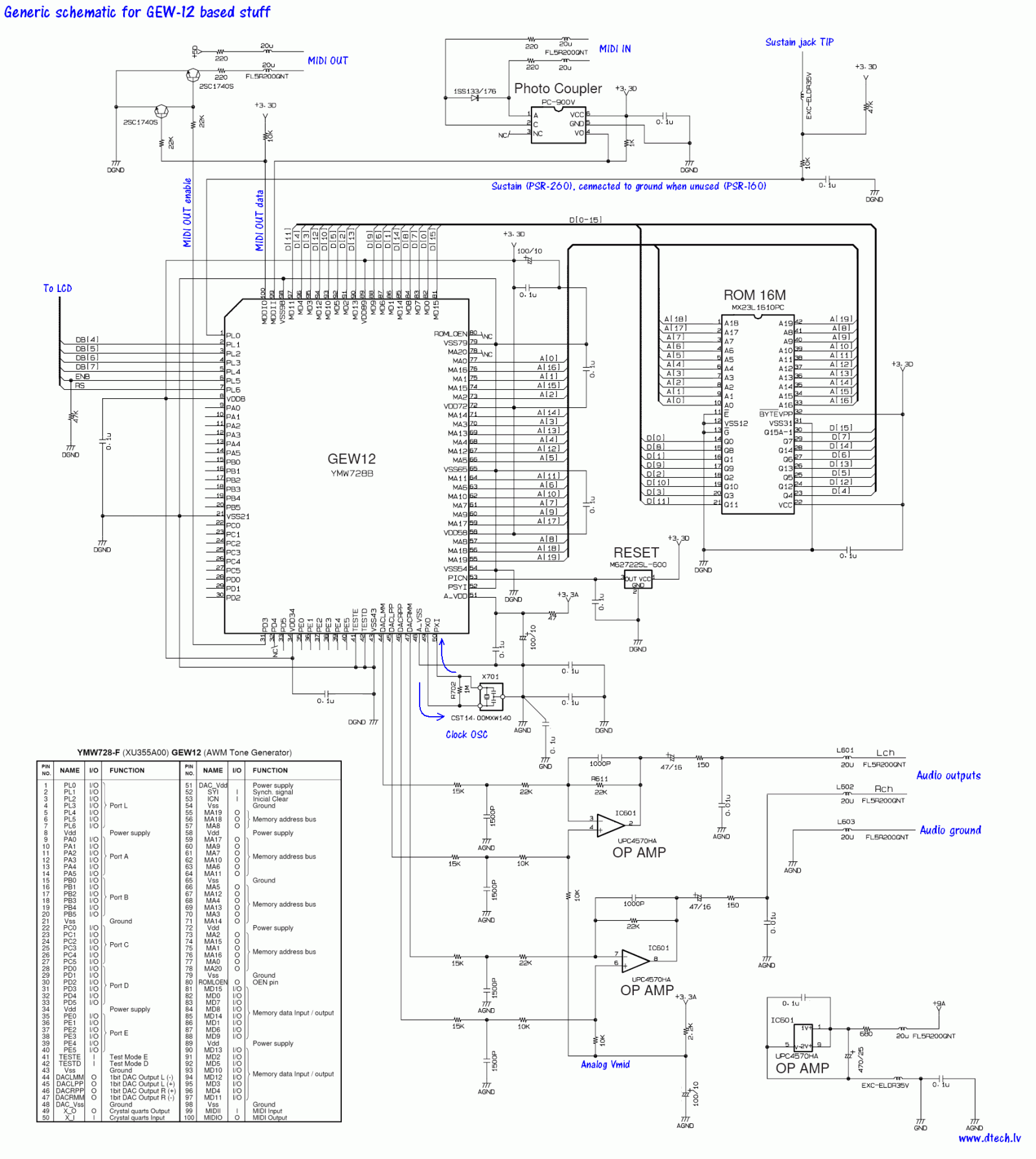 yamaha keyboard circuit diagram